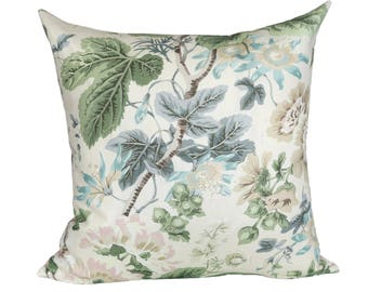 READY TO SHIP - 20x20 Highgrove Floral designer pillow cover with blush pink linen reverse