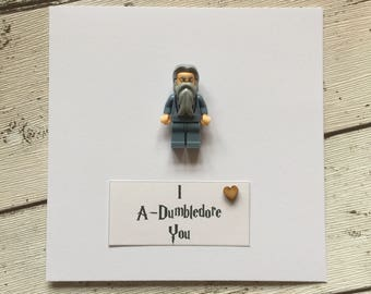 Personalised Harry Potter inspired Dumbledore Card with feature minifigure. 'I A'Dumbledore you...' Birthday Anniversary Wedding