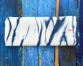 Table Runner Arashi Shibori vintage german Flax Indigo hand dyed Denim Blue Monogram pure Linen 47x160 cm 19x63 inches