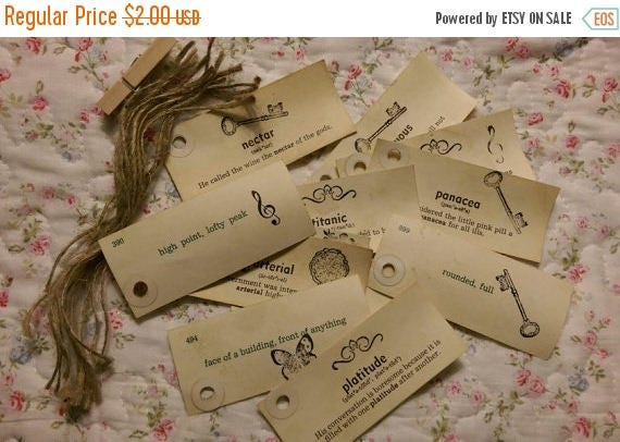 Average Cost Of A Wedding Gift: ON SALE 12 Tea Stained Gift Price Tags Vintage Vocabulary