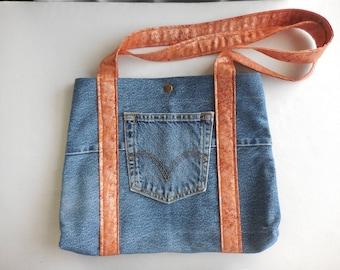 Upcycled Levi Denim purse, denim shoulder bag, Hobo bag, Recycled Denim Tote, jean purse, handmade pocketbook, tan and gold interior