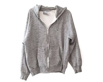 Vintage 80s heather gray Hoodie sweatshirt zip up metal zipper hooded thermal lined