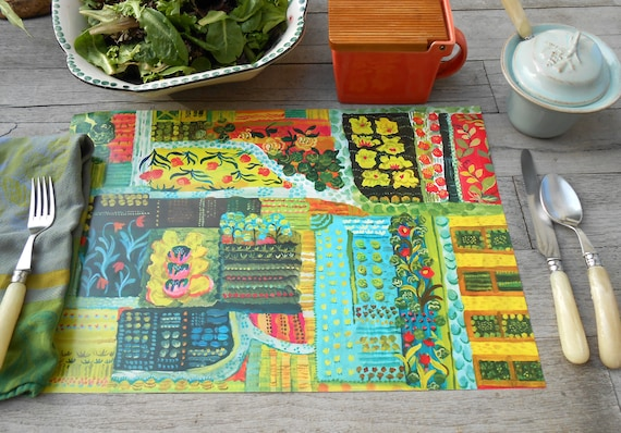 Paper placemat set of 12 Farm to Table design by Kimberly Hodges, farm to table, paper placemat pad, garden placemat, paper mat