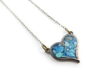 Vintage Sterling Heart Necklace, Blue Chip, Stamped 925