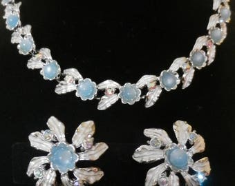Signed Judy Lee Blue Moonglow AB Rhinestones Silver Tone Floral Demi-Parure