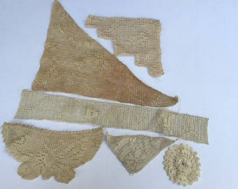 Vintage Crochet Lace Pieces, Lot of 6 Various Sizes & Designs, Corners Butterfly Baby Round, Sewing and Craft Projects