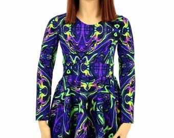 Toddlers and Girls Size 2T 3T 4T and 5-12 Neon Melt Long Sleeve Fit and Flare Skater Dress - 154979