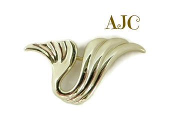 AJC Brooch, Vintage Abstract Gold Tone Wave Brooch. Gift for Her, FREE SHIPPING