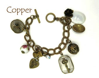Charm Bracelet, Vintage Copper, Cameo, Key, Rose, MOP, Porcelain, Rhinestone Charms, Gift for Her, FREE SHIPPING