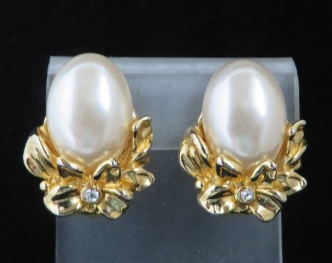 Faux Pearl Flower Earrings, Vintage Gold Tone Rhinestone Studded Clip-on Earrings