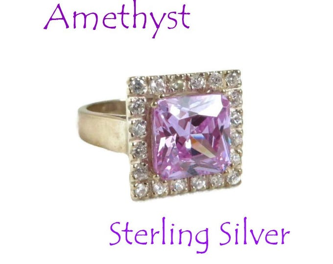 Sterling Silver Amethyst Ring, Vintage Multistone Cocktail Ring, Amethyst, Cubic Zirconia, Size 8, FREE SHIPPING