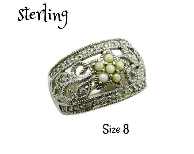 Sterling Silver Filigree Ring, Vintage Faux Pearl & CZ Ring, Size 8, Gift Idea, Gift Box, FREE SHIPPING
