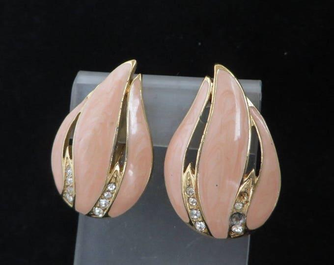 Trifari Salmon Pink Earrings - Vintage Pink Enamel Rhinestone Earrings, Gold Tone Clip-ons, Missing Rhinestones