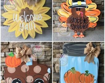 Pumpkin door hanger | fall wreath | thanksgiving decor | fall door hanger | Halloween door hanger