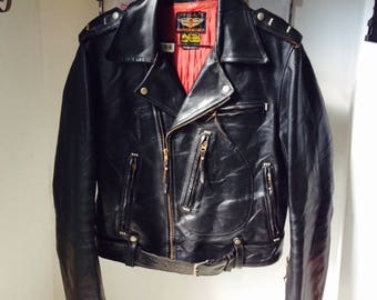 """Vintage HD Cycle Champ by The Real McCoys """"KING ELVIS"""" D-Pocket horsehide biker jacket size 40"""