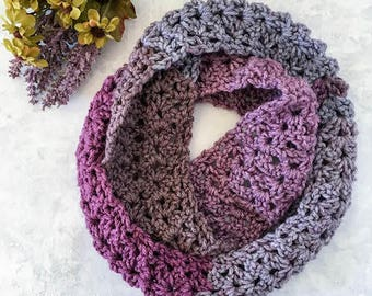 Frosted Berry Infinity Scarf Crochet Pattern PDF Printable