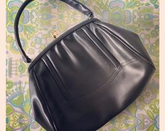 Vintage 1960's Black Handbag