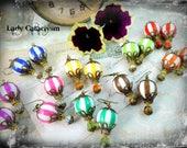 Boucles d'oreilles montgolfières , Circus balloon , steampunk , bleu roi