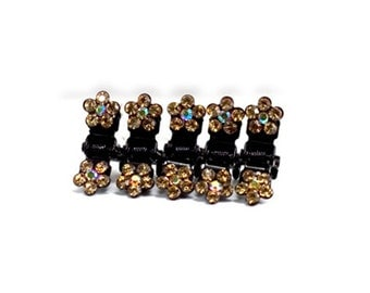 Hand Made Hair Jewelry Flower Mini Jaws swarovski crystal Petals Set of 5 Brown(SO5021-lb)