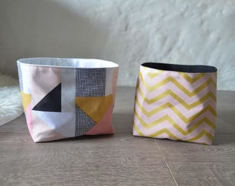 Pair of baskets fabric collection 'Flamingo mustard touch' - graphic fabric pink, mustard, white, black and gold