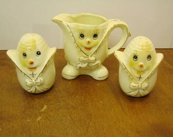 Vintage Anthropomorphic Corn Cob Face Figures Salt and  Pepper Shakers & Creamer