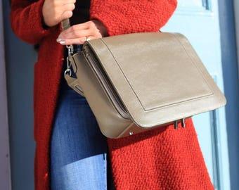 Leather Bag Grey, Grey Leather Purse, Grey Leather Bag, Grey Leather Handbag, Leather Handbag, Leather Satchel, Grey Leather Satchel