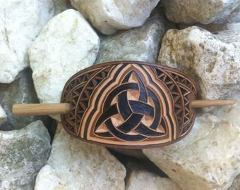 Celtic triquetra hand carved leather hair barrette