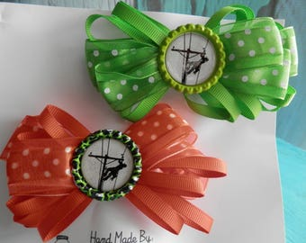 Lineman's Little Girl Boutique Bows in Orange and Lime Green