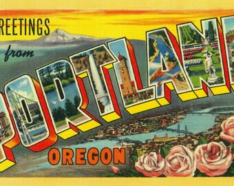 Greetings from Portland, Oregon - Vintage Halftone (Art Print - Multiple Sizes Available)