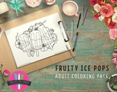 Fruity Ice Pops Coloring Page - Summer Treats Downloadable Coloring Page - Florals and Fruits Printable Coloring page