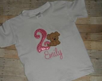 Baby Toddler Girls custom applique sequin brown puppy dog birthday shirt 12 18 24 months 2t 3t 4t 5t