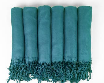 Pashmina Shawl SEA - TEAL Blue Bridesmaid Gift, Wedding Favor, Bridal party gift - Monogrammable