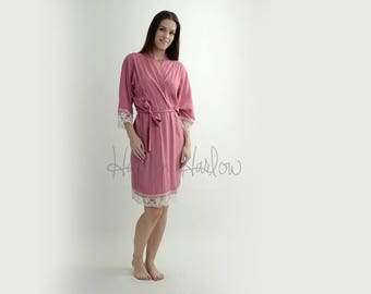 Mauve Pink Cotton Robe with ivory lace trim - Bride Bridesmaid Flowergirl Gift - Monogrammable | sizes 0-26 standard or petite, child sizes