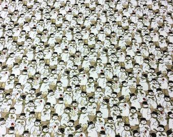 Fabric Freedom F515 Winter Snowmen Metallic Hues Patchwork Quilting