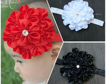 Baby girl headbands, red black or white flower headband, infant headbands,newborn headbands, flower girl, 1st birthday, easter head wrap
