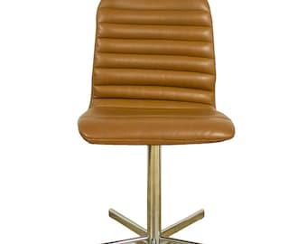 Brown Leather Swivel Armchair Desk Chair Retro G Plan Eames Era