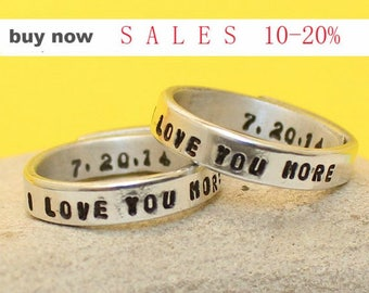 Custom Silver Ring Set - I Love You More - Promise Rings - Personalized Couples Ring -Hand Stamped Aluminum- Anniversary Gift - Couples Gift