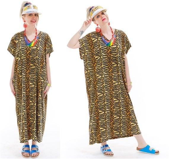 Vtg 80s 90s SAFARI CAFTAN Animal Mixed Print Tribal Maxi House DRESS Resort Wear Beach Coverup Hippie Boho Psychedelic Batik Tiger Draped os