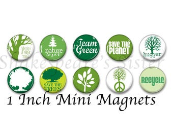 Tree Magnets - Fridge Magnets - Nature Lover - 10 Magnets - 1 Inch Mini Magnets - Kitchen Magnet
