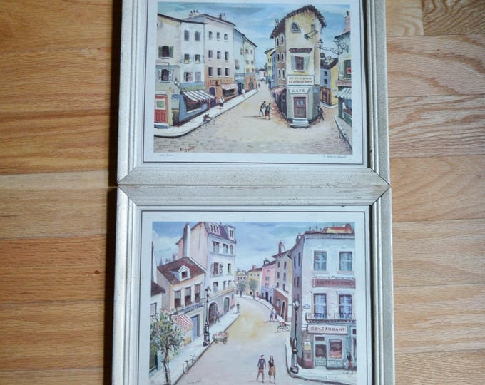 Vintage France Prints Buzzelli Litho Framed Set of 2 Nice and Montmartre French Paris Wall Decor PanchosPorch