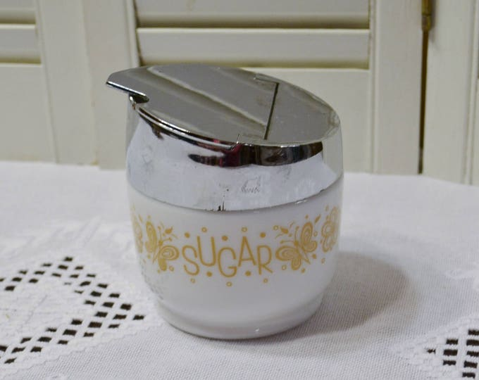 Vintage Gemco Butterfly Gold Sugar Bowl Flip Top Corelle Compatibles PanchosPorch