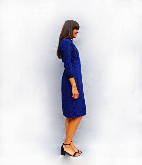 Blue Wool Dress, Navy Blue Dress, Leaf Print Dress, Vintage Marks + Spencers Dress, 1980s Dress, Shirt Dress, Midi Dress, Dress With Sleeves