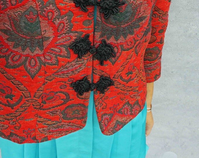 Red Carpet Coat, Vintage 80s Red Jacket, Floral Print Coat, Paisley Carpet Coat, Tapestry Coat, Eastern Carpet Coat, Embroidered Coat, Boho
