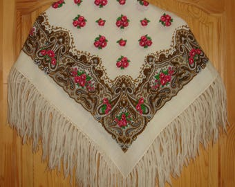 White russian Wool Scarf Vintage Pavlovo Posad Shawl Babushka Shawl Vintage Boho Scarf white red brown green Shawl with Floral Pattern