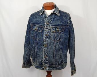 Vintage Men's Lee Acid Washed Jean Jacket Large L 80s Eighties Made in USA Blue Denim  Patd 153438 Stranger Things Trucker Jacket