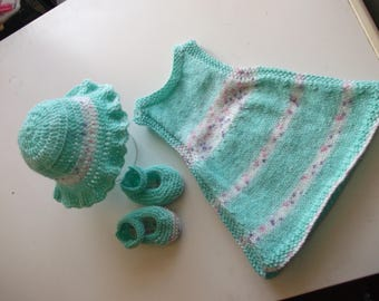 handknitted 0 - 3 months, pinafore dress hat and mary jane set