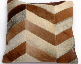 Natural Cowhide Luxurious Patchwork Hairon Cushion/pillow Cover (15''x 15'')a258