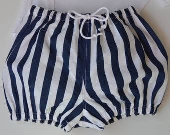 Blue and white striped bloomers - baby and toddler sizes, suitable for a boy or girl. Gift idea