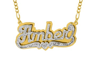 "Double-Plate Beaded ""Amber "" Name Necklace"