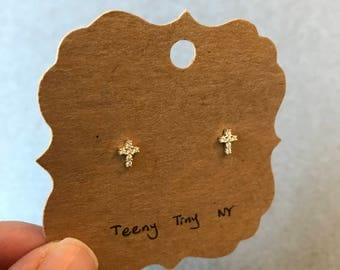 Gold CZ Tiny Cross Stud Earrings - Gold Plated Over Sterling Silver